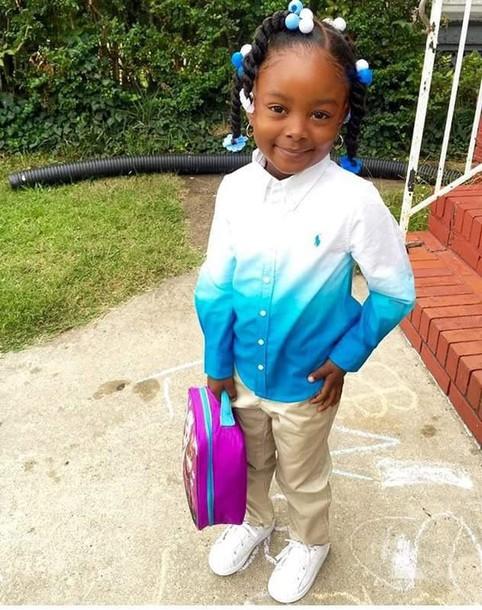 a77204227 blouse ralph lauren polo blue dress flannel shirt toddler girl kids fashion  ombre ombre shirt