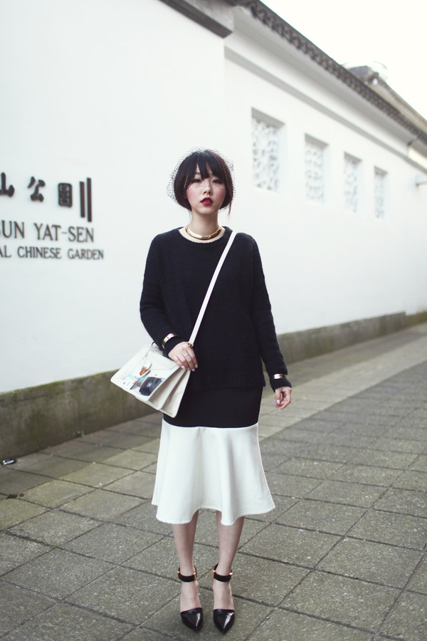 this is what we do sweater skirt bag shoes
