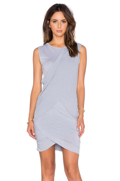 Stateside Crossover Ruched Mini Dress in gray