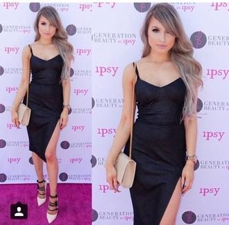 dress black dress slit dress chic instagram black midi dress