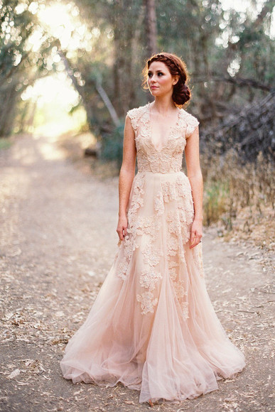 prom dress prom white dress light pink dress lace