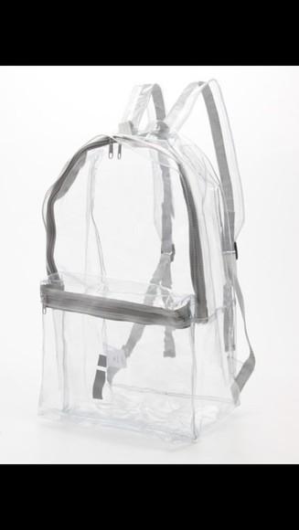 bag backpack clear clear bag backpack hipster trennd transparent nastygal pvc 90s clear bag clear backpack bookbag sliver
