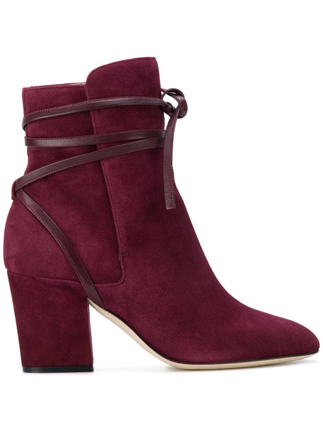 Sergio Rossi women ankle boots leather suede purple pink shoes
