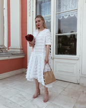 shoes,sandas,sandals,nude sandals,dress,midi dress,white dress,bag