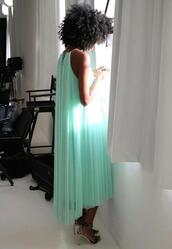 dress,clothes,wedding clothes,maxi dress,long prom dress,long evening dress,gorgeous,gorgeous dress,mint dress,mint,chiffon,chiffon dress,chiffon long evening dress
