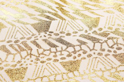One Shoulder Metallic Pattern Bandage Dress Gold