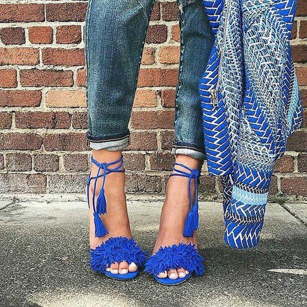 shoes fsj shoes blue heels royal blue heels fringes fringe shoes ankle strap sandal heels high heel sandals