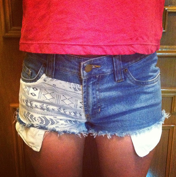 cutoff shorts shorts denim shorts cute cut offs lace shorts lace denim vintage