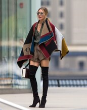 cape,olivia palermo,olivia,burberry,prorsum,burgundy,mustard,checkered,burberry prorsum,coat,shoes,designer,fashion,class,classy,summer outfits