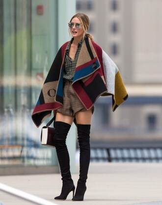 cape olivia palermo olivia burberry prorsum burgundy mustard checkered