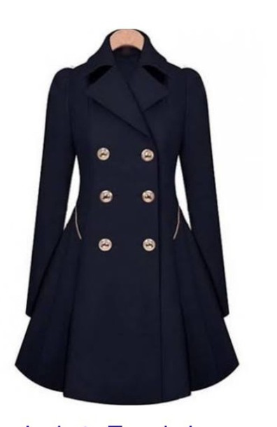 coat navy fashion style trendy girly long sleeves trendsgal.com