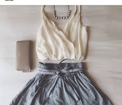 blouse,fancy,crop,jewels,shorts,skirt,shirt,grey,aline,a-line,mini,skater skirt,skater,belt,crop tops,cream,off-white,flowy,flowing,v neck,spaghetti strap,chiffon,halter neck,necklace,pearl necklace,wristlet,beige,michael kors,michael kors bag,michael kors clutch,bag,clutch,michael kors wallet,wallet,halter top