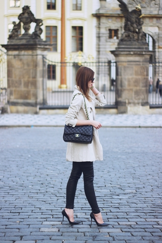 vogue haus blogger shirt coat leggings shoes bag sunglasses jewels black leather pants leather pants trench coat beige coat