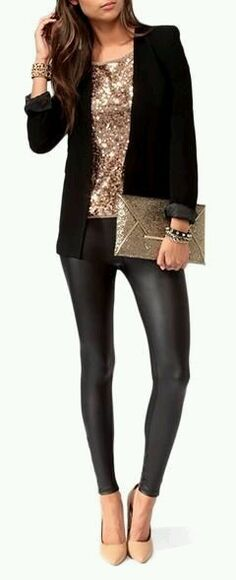 clutch t-shirt sparkly new year's eve party eve night out sequins tank top high heels belly top nude jacket