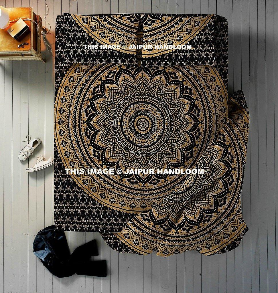 Indian Ombre Mandala Bedspread & Queen Duvet Doona Quilt Cover Blanket 4 PC Set