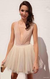 dress,nude,plunge neckline,tutu dress,troian bellisario,dusty pink,holiday dress