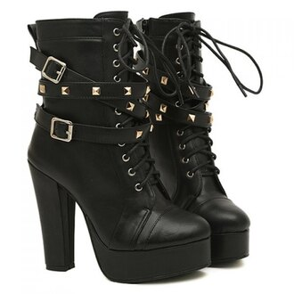shoes lace up boots fall outfits chuncky heels black boots high heels buckle boots boots goth gothic boots halloween pumps heels wedges fashion buckles