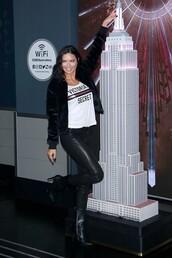 top,adriana lima,pants,jacket,leather pants,fall outfits,victoria's secret,victoria's secret model