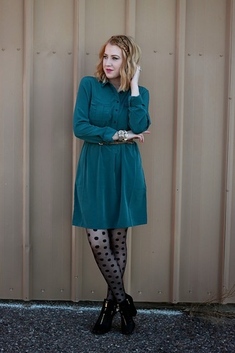 fashion flirtation blogger tights belt jewels polka dots dress hairstyles forest green polka dot tights teal mini dress fall outfits fall dress long sleeves long sleeve dress
