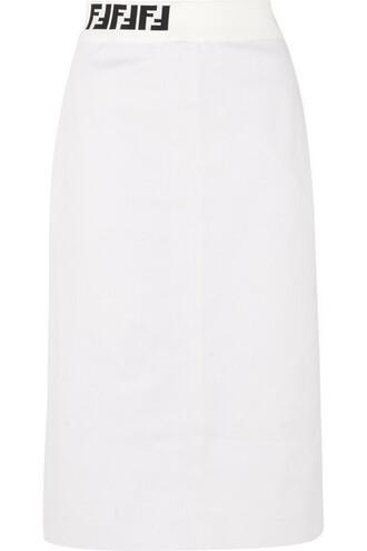 skirt midi skirt denim midi jacquard white knit