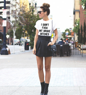 t-shirt,i dont give a fuck,funny quote shirt,funny t-shirt,statement tees,graphic tee,cute top,fashion,women tshirts,white,skirt,style,quote on it,top,shoes