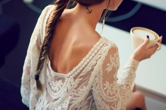 blouse white see through white top white shirt tattoo flowers braid coffee lace top