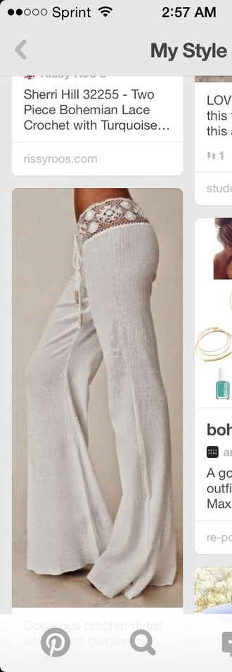 pants offwhite bottoms\ cover up beach pants beach beachy airy summer outfits summer pants summer style fashion chic eggshell flair