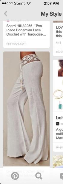 pants off-white beach pants beach beach airy summer outfits summer pants summer style fashion chic eggshell flair