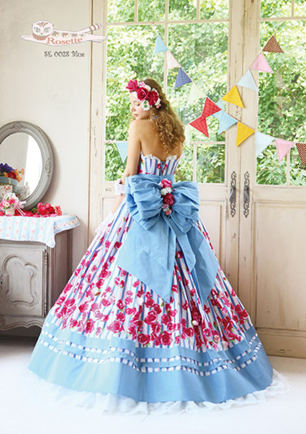 dress bow flowers prom dress wedding dress stripy blue dress cute dress
