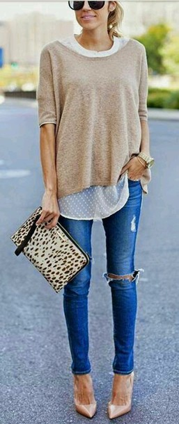 blouse bag leopard print ripped