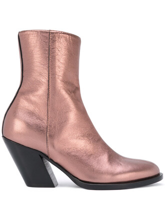 metallic women boots leather grey shoes