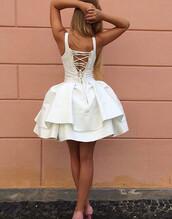 dress,homecoming dress,laced up homecoming dress,bandage homecoming dress,queen anne homecoming dress,a line homecoming dress,spaghetti strap homecoming dress,short homecoming dress