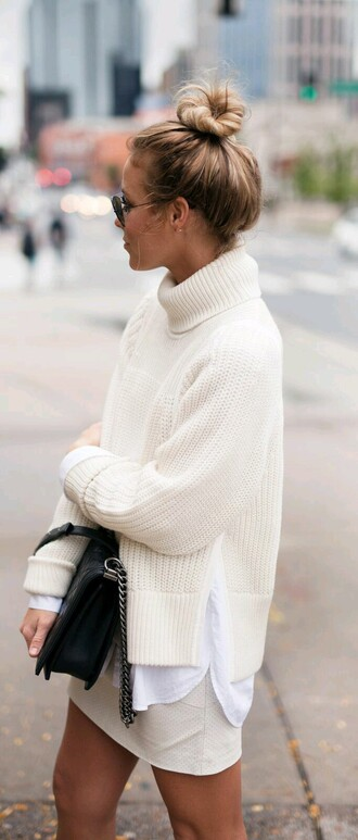 sweater blogger fashion fall outfits turtleneck off-white sweater bun fall sweater top knot bun white turtle neck sweater skirt black bag oversized all white everything white sweater