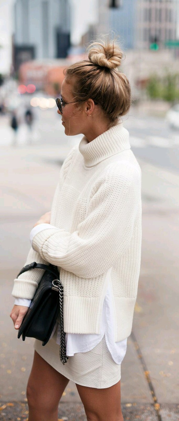White Cropped Cowl Neck Sweater