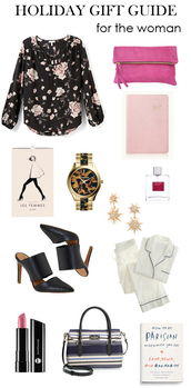 m loves m,blogger,pajamas,shoes,blouse,holiday gift,floral,notebook,bag,jewels,make-up