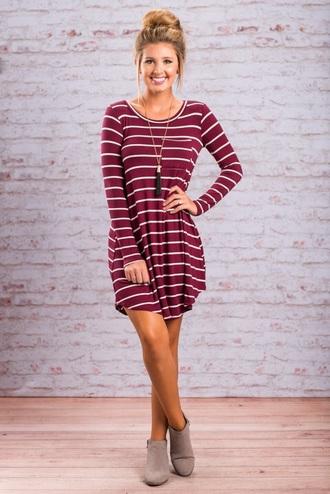 dress striped dress burgundy dress long sleeves
