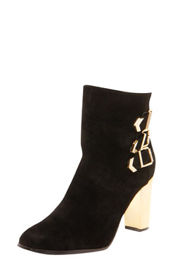 Amber suedette buckle trim mirrored heel shoe boots at boohoo.com