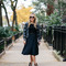 Sequin bomber jacket and pleated black & navy skirt — bows & sequins
