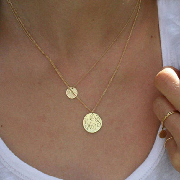 jewels coin necklace gold double