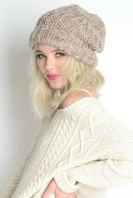 Warm Bodies Chunky Heathered Knit Beanie in Beige | Sincerely Sweet Boutique