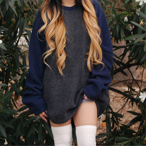 baseball bleu sweater grey socks long slevees oversized sweater oversized