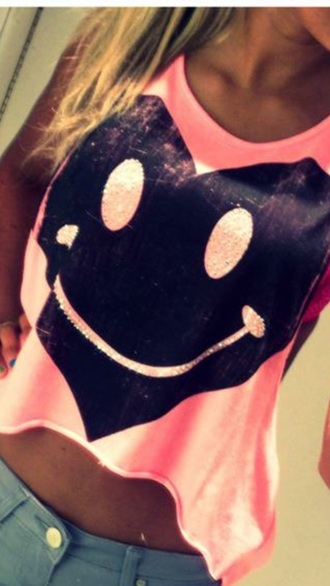 top pink pink top smile emoji print emoji shirt heart neon pink t shirt print black cute