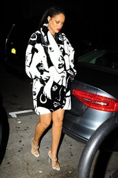 coat,rihanna,sandals,black and white,shoes