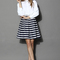 Navy stripes pleated tulip skirt - retro, indie and unique fashion