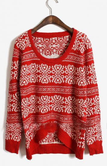 Red Long Sleeve Asymmetrical Floral Sweater - Sheinside.com