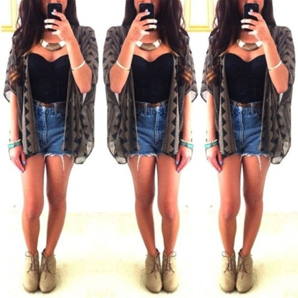 sweater shorts black tube top necklace cardigan blue jeans cute outfit casual pretty tank top jewels