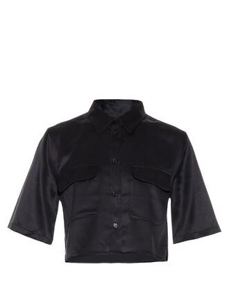 shirt cropped silk navy top