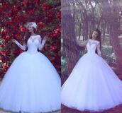 dress,white wedding dresses,boat neck,long sleeves,ball gown dress,bridal gown,arabic style bridal gowns