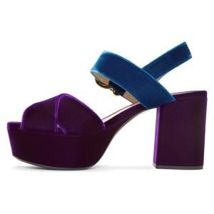 Blue and Purple Block Heel Sandals Open Toe Platform Sandals