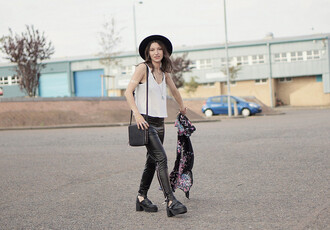 laughing in the purple rain blogger leather pants white tank top grunge shoes
